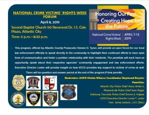 County agencies to hold crime victim's forum, April 8 in Atlantic